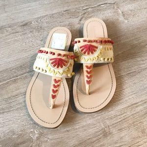 Geometric Colorful T-Strap Sandals